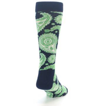 Image of Navy Green Paisley Men's Dress Socks (side-1-back-20)