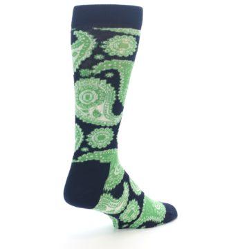 Image of Navy Green Paisley Men's Dress Socks (side-1-back-22)