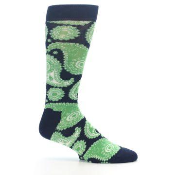 Image of Navy Green Paisley Men's Dress Socks (side-1-25)