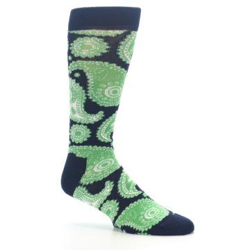 Image of Navy Green Paisley Men's Dress Socks (side-1-26)