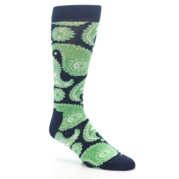 Image of Navy Green Paisley Men's Dress Socks (side-1-27)