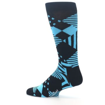 Image of Black Blue Multi-Pattern Diamonds Men's Dress Socks (side-2-13)