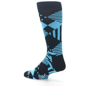Image of Black Blue Multi-Pattern Diamonds Men's Dress Socks (side-2-back-14)
