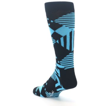 Image of Black Blue Multi-Pattern Diamonds Men's Dress Socks (side-2-back-15)