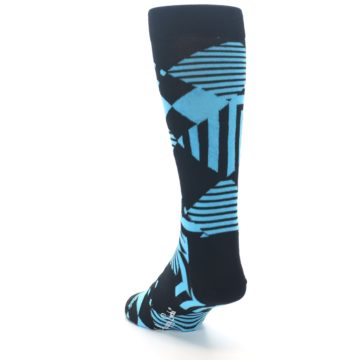 Image of Black Blue Multi-Pattern Diamonds Men's Dress Socks (side-2-back-16)