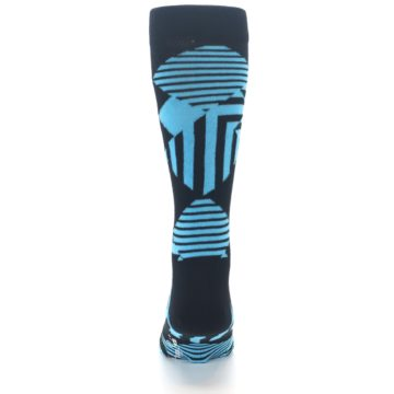 Image of Black Blue Multi-Pattern Diamonds Men's Dress Socks (back-18)