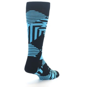Image of Black Blue Multi-Pattern Diamonds Men's Dress Socks (side-1-back-21)
