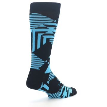 Image of Black Blue Multi-Pattern Diamonds Men's Dress Socks (side-1-back-22)