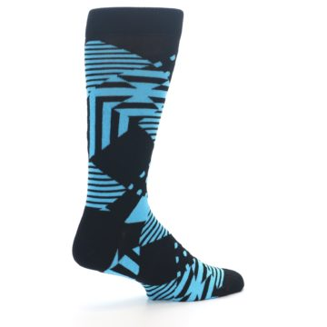 Image of Black Blue Multi-Pattern Diamonds Men's Dress Socks (side-1-23)
