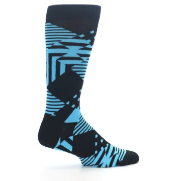 Image of Black Blue Multi-Pattern Diamonds Men's Dress Socks (side-1-24)