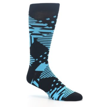 Image of Black Blue Multi-Pattern Diamonds Men's Dress Socks (side-1-26)