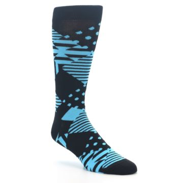 Image of Black Blue Multi-Pattern Diamonds Men's Dress Socks (side-1-27)