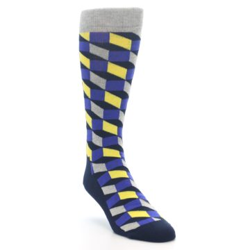 Image of Yellow Blue Grey Optical Men's Dress Socks (side-1-front-02)