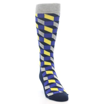 Image of Yellow Blue Grey Optical Men's Dress Socks (side-1-front-03)