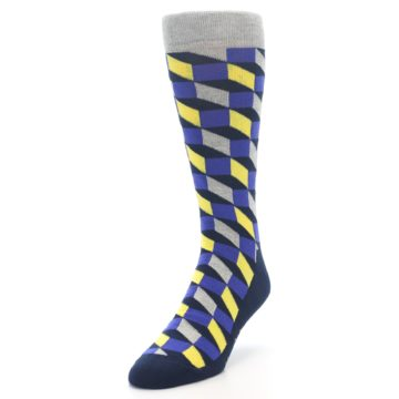 Image of Yellow Blue Grey Optical Men's Dress Socks (side-2-front-07)