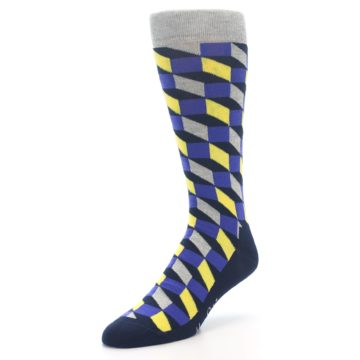 Image of Yellow Blue Grey Optical Men's Dress Socks (side-2-front-08)