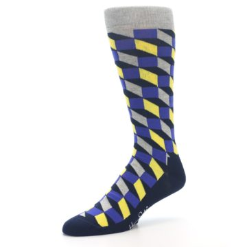 Image of Yellow Blue Grey Optical Men's Dress Socks (side-2-09)