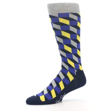 Image of Yellow Blue Grey Optical Men's Dress Socks (side-2-10)