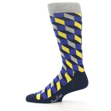 Image of Yellow Blue Grey Optical Men's Dress Socks (side-2-12)