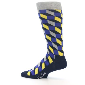 Image of Yellow Blue Grey Optical Men's Dress Socks (side-2-13)