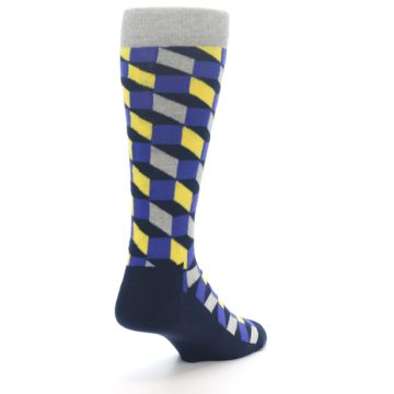 Image of Yellow Blue Grey Optical Men's Dress Socks (side-1-back-21)