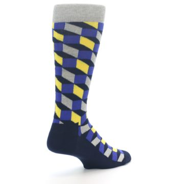 Image of Yellow Blue Grey Optical Men's Dress Socks (side-1-back-22)