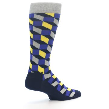 Image of Yellow Blue Grey Optical Men's Dress Socks (side-1-23)