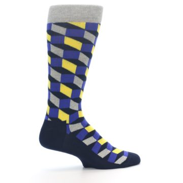 Image of Yellow Blue Grey Optical Men's Dress Socks (side-1-24)