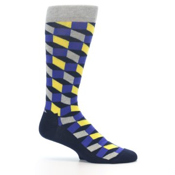 Image of Yellow Blue Grey Optical Men's Dress Socks (side-1-25)