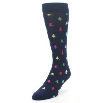 Image of Navy Multi-Color Christmas Trees Men's Dress Socks (side-2-front-07)