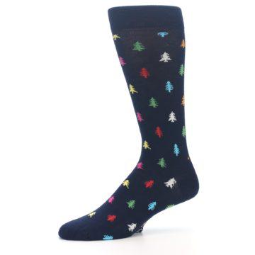 Image of Navy Multi-Color Christmas Trees Men's Dress Socks (side-2-10)