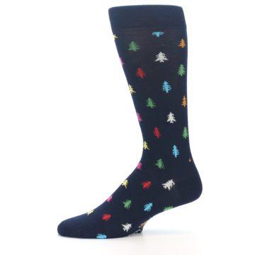 Image of Navy Multi-Color Christmas Trees Men's Dress Socks (side-2-11)