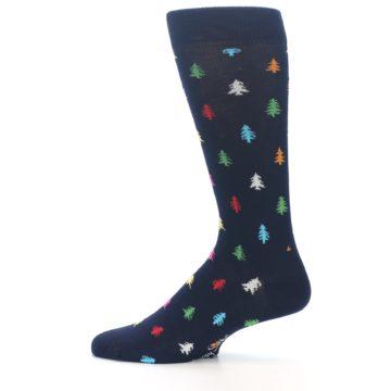 Image of Navy Multi-Color Christmas Trees Men's Dress Socks (side-2-12)