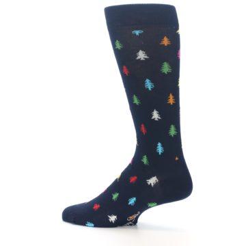 Image of Navy Multi-Color Christmas Trees Men's Dress Socks (side-2-13)