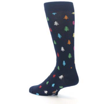 Image of Navy Multi-Color Christmas Trees Men's Dress Socks (side-2-back-14)