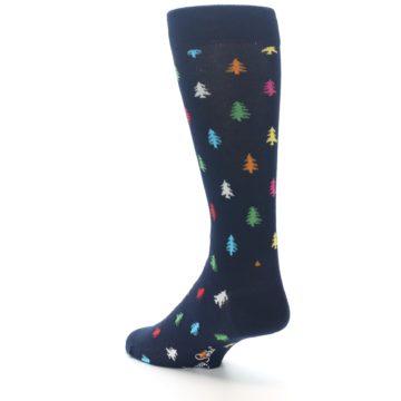 Image of Navy Multi-Color Christmas Trees Men's Dress Socks (side-2-back-15)