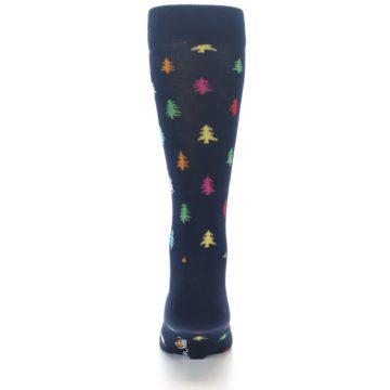 Image of Navy Multi-Color Christmas Trees Men's Dress Socks (back-18)