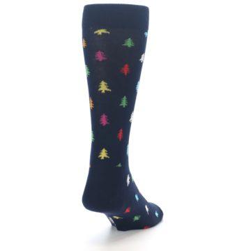Image of Navy Multi-Color Christmas Trees Men's Dress Socks (side-1-back-20)