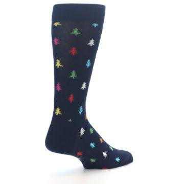 Image of Navy Multi-Color Christmas Trees Men's Dress Socks (side-1-back-22)