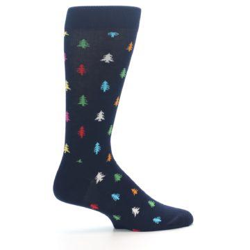 Image of Navy Multi-Color Christmas Trees Men's Dress Socks (side-1-24)