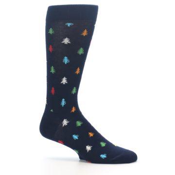 Image of Navy Multi-Color Christmas Trees Men's Dress Socks (side-1-25)