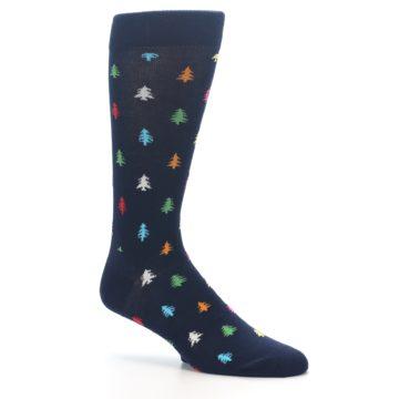 Image of Navy Multi-Color Christmas Trees Men's Dress Socks (side-1-26)