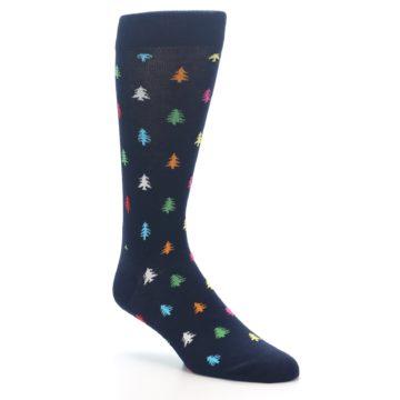Image of Navy Multi-Color Christmas Trees Men's Dress Socks (side-1-27)