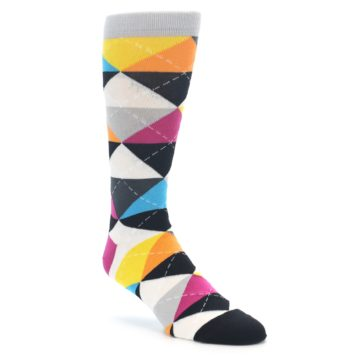 Image of Black Multi-Color Argyle Men's Dress Socks (side-1-front-01)