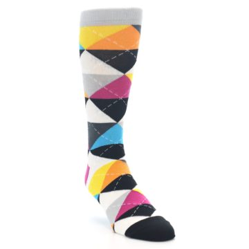 Image of Black Multi-Color Argyle Men's Dress Socks (side-1-front-02)