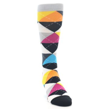 Image of Black Multi-Color Argyle Men's Dress Socks (side-1-front-03)