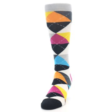 Image of Black Multi-Color Argyle Men's Dress Socks (side-2-front-06)
