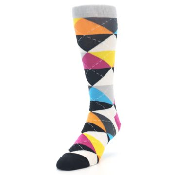 Image of Black Multi-Color Argyle Men's Dress Socks (side-2-front-07)