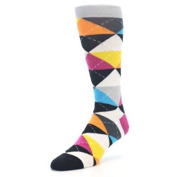 Image of Black Multi-Color Argyle Men's Dress Socks (side-2-front-08)