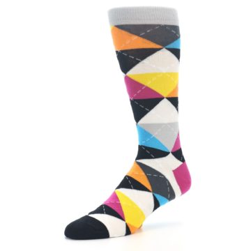 Image of Black Multi-Color Argyle Men's Dress Socks (side-2-09)